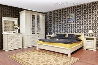 Спальня Верди Люкс, кровать с низким изножьем, крашение: слоновая кость (без ДСП)