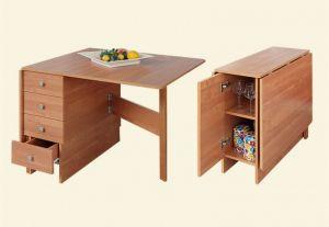 Столы и стулья:Обеденные столы:Раскладной обеденный стол-книжка с ящиком