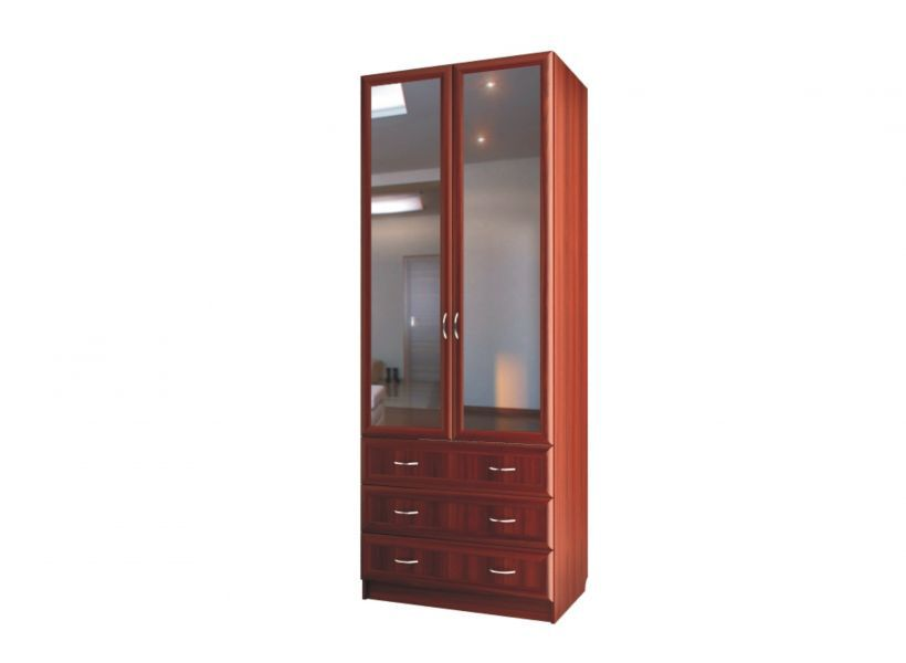 """Шкаф для белья двухдверный с зеркалами и с 3 ящиками С 403/1 М - мебельная фабрика """"Волхова"""""""