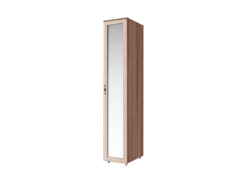 Шкаф пенал с зеркалом Амелия, модуль №5 (ясень шимо темный/ясень шимо светлый)