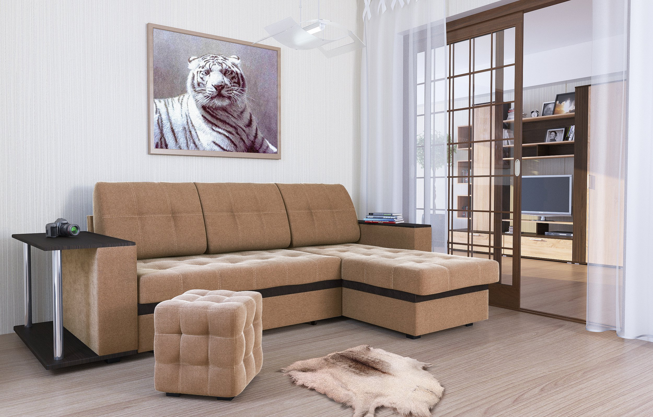 Диван-кровать угловой АТЛАНТА, ткань Shaggy Mocca