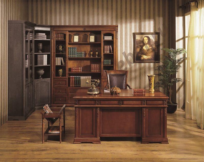"""Шкаф книжный 4-х дверный MK-1753-DN, закрытый, без карнизов, """"темный орех"""""""
