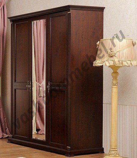 """Шкаф 3-дверный MK-1716-DN """"Нотти"""" с зеркалом, """"темный орех"""""""
