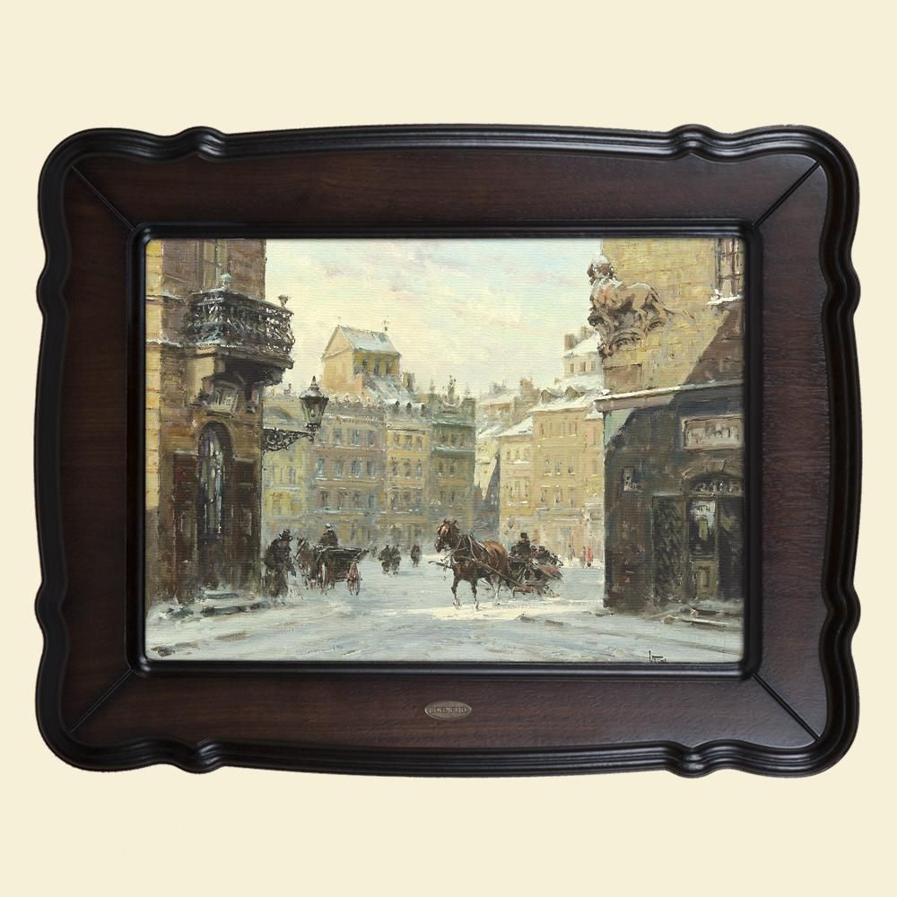 Картина «Зима, городской пейзаж с конными экипажами»