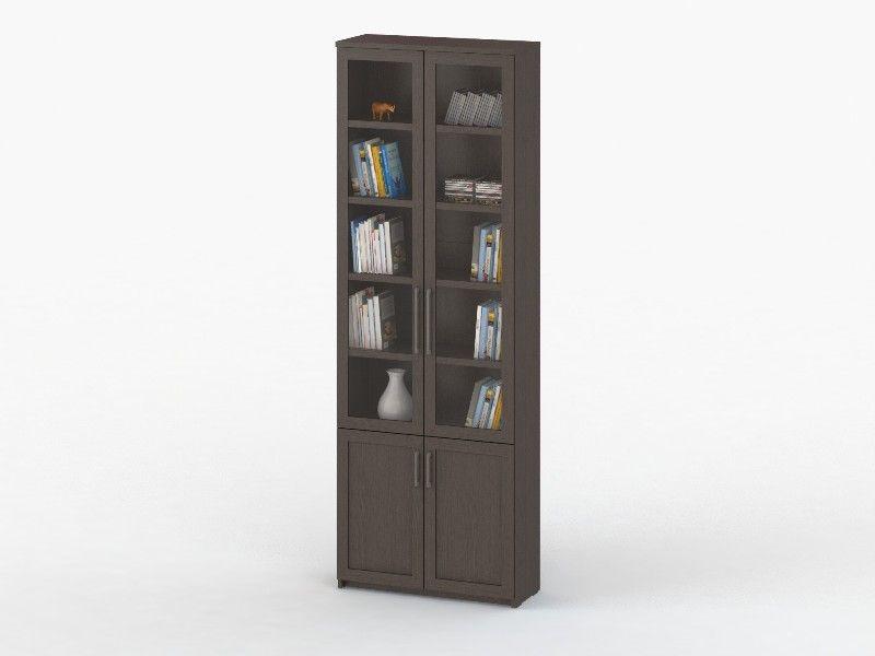 Шкаф книжный СОЛО 37 с фасадами СТЕКЛО