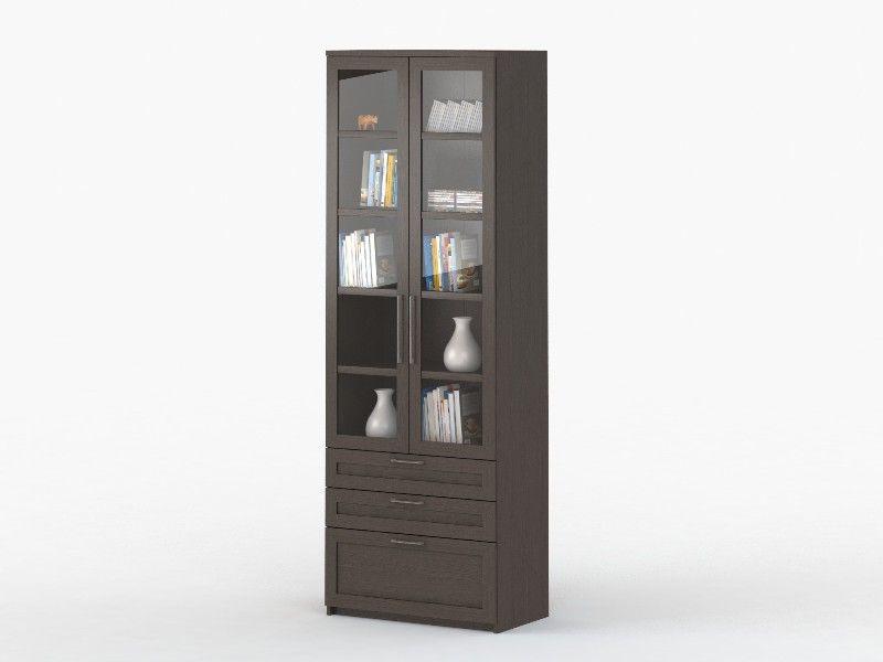 Шкаф 2-дверный с ящиками СОЛО 054 с фасадами СТЕКЛО