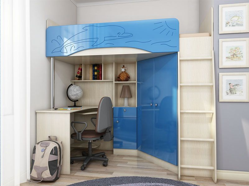 Детская корпусная мебель Бэмби-4 (голубой металлик)