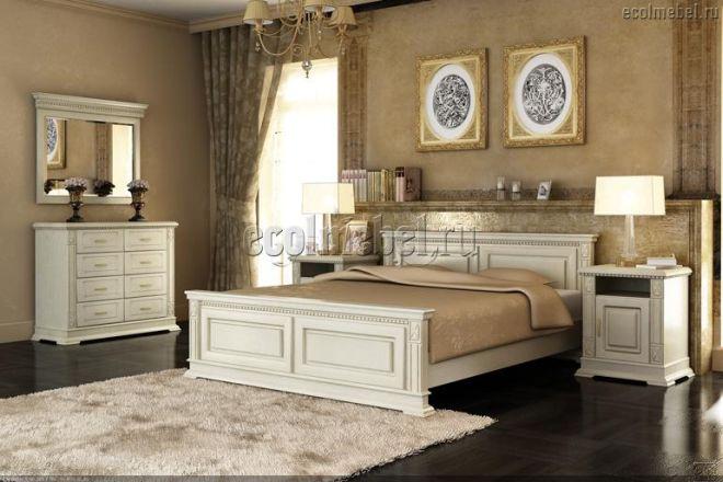 Спальня Верди слоновая кость 1 (массив дуба)