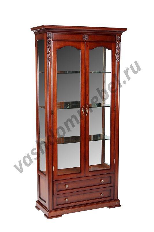 Витрина MK-1726-DN 2-дверная, 100*43*210 см, цвет: темный орех