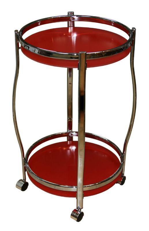 Столик сервировочный на колесиках GC1129, красное стекло