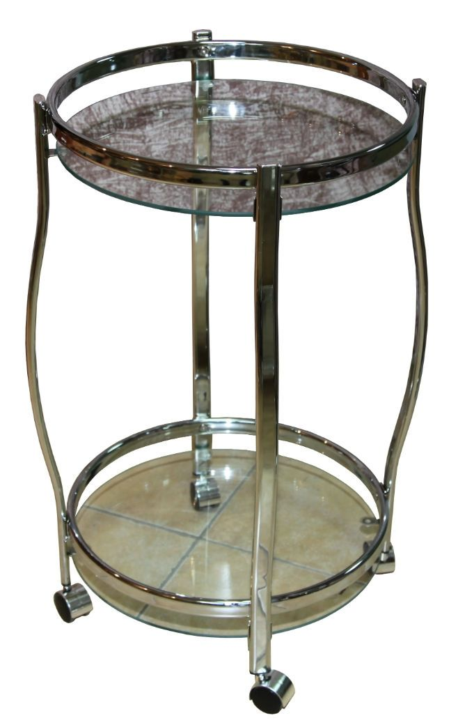 Столик сервировочный на колесиках GC1129, прозрачное стекло