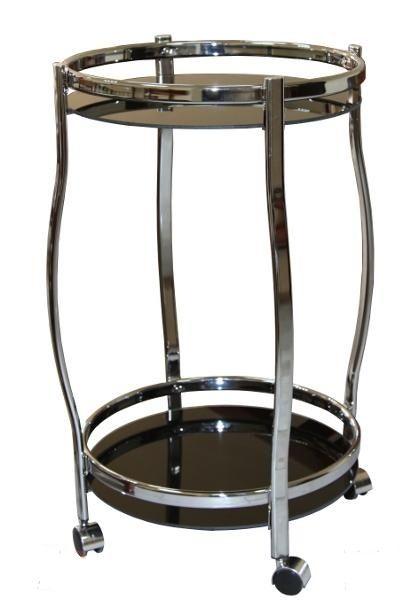 Столик сервировочный на колесиках GC1129, черное стекло