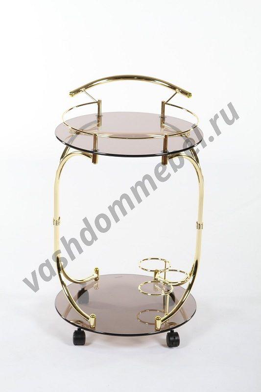 Сервировочный столик MK-2316, металл-золото, стекло коричневое
