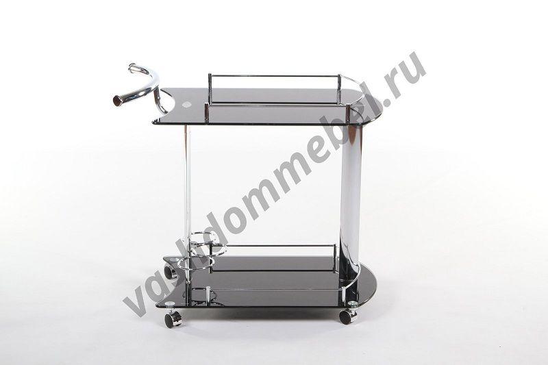 Сервировочный столик MK-2338, металл + стекло темное