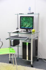 Компьютерные столы:Компьютерные столы из стекла:Компьютерный стол стеклянный G0018/G1