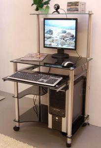 Компьютерные столы:Компьютерные столы из стекла:Компьютерный стол стеклянный G0018/G3