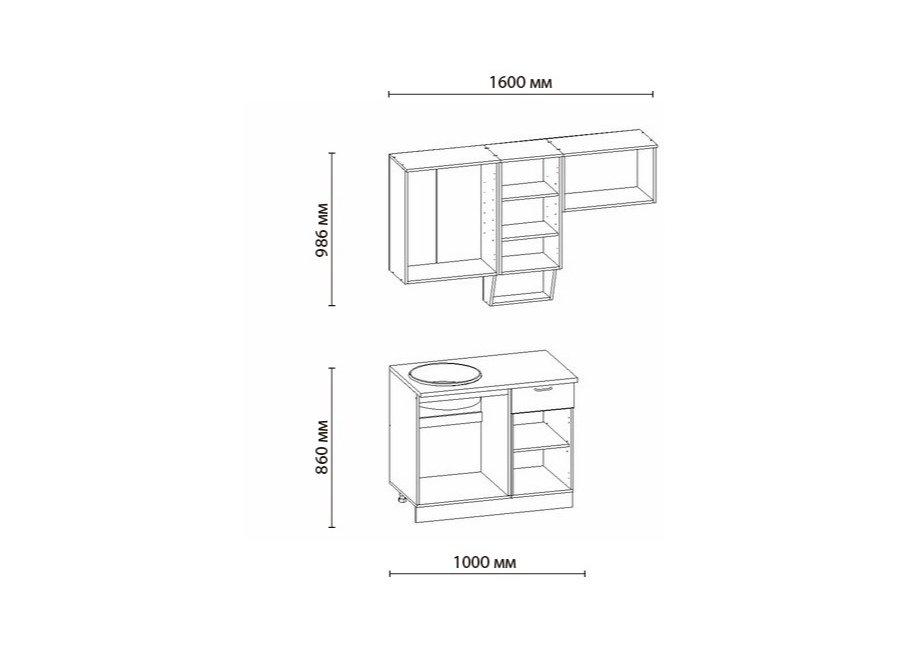 Кухня БЕЛАРУСЬ-1, левая - правая