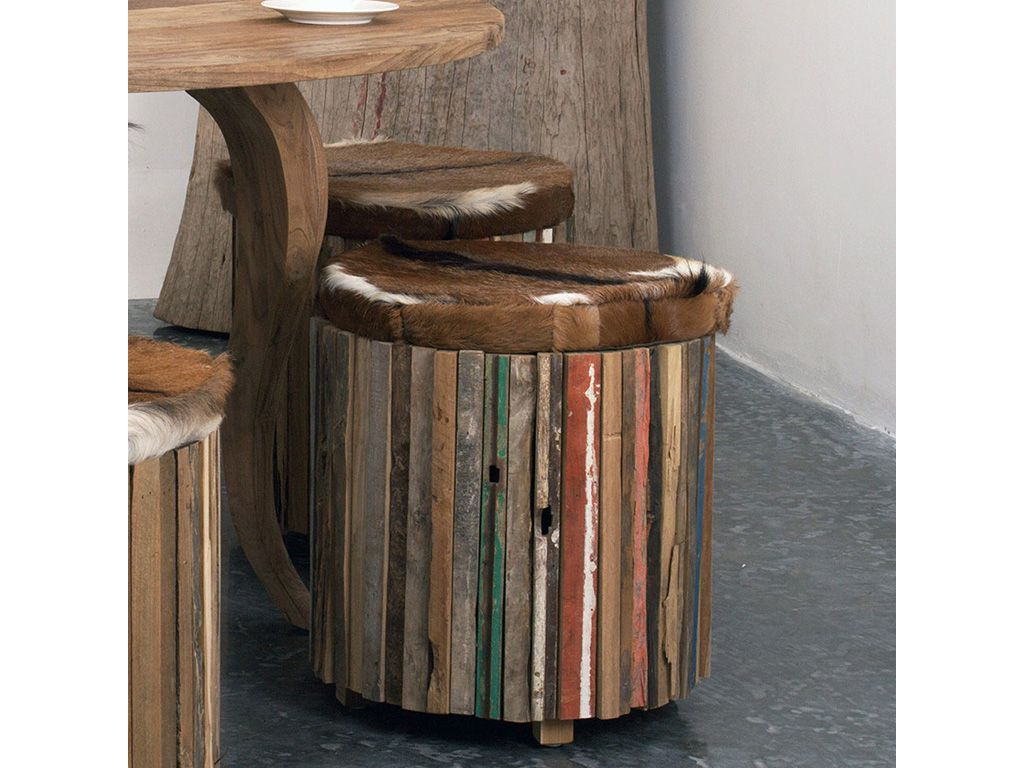 Табурет из массива тика Drum (painted)