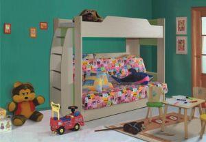 Детская кровать двухъярусная с диваном (клен/бордо)