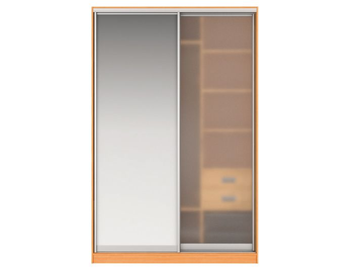 Шкаф-купе ГРЕЙС Вариант 4 Фасады: Зеркало, Стекло матовое (вишня)